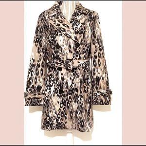 Liz Claiborne leopard print belted pea coat, Large